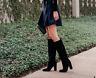 Womens Sam Edelman Boots Caprice Tall Knee Boots Black Suede Block Heel 7.5 $225