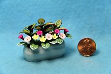 Dollhouse Miniature Mixed Flowers in White Container ~ F2021