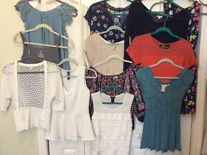 Lot Of 12 Women's Tops, 1 Dress Ann Taylor, Guess, Gap, NY&Co, sz S, XS