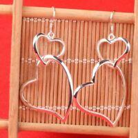 Dangle Lovely Earrings Fashionable Jewelry Piercing Double Heart Silver Earrings