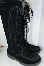 SPRING STEP HAWKINS Tall Boots Black Suede Laces Lines Womens Size 41