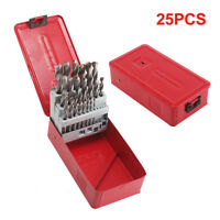 25PC PIECE STEEL HSS DRILL BIT SET METAL INDEX BOX 1MM - 13MM HSS DRILL BITS UK