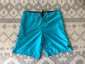 Mens Hurley Turquoise Swim Trunk Boardshorts Size 38
