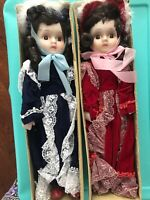 Set of Twins Porcelain Dolls with Navy and maroon velvet gown and black curls