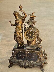 "Monumental Rare French Empire Figural Clock ""H&F"" Paris Beautiful Woman Ornate"