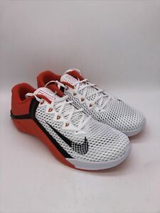 Nike Metcon 6 Cross Training White Orange, Black CK9388-180 Size 11.5