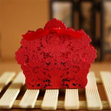 50pcs Rose Laser Cut Hollow Candy Box Wedding Party Favors Gift Bag with Ribbon