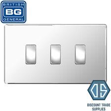 BG Polished Chrome Screwless 3 Gang Switch 1x Intermediate 2x 2 Way Custom Grid