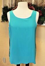 NEW Bob Mackie M Silk Tank Top Turquoise/Multi Side Slits Wearable Art