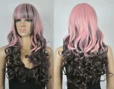 Hot Sell Fashion Long Pink Mix Dark Brown Wavy Women's Lady's Hair Wig Wigs +Cap