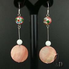 AU SELLER Natural White Onyx & Mother Of Pearls Silver earrings 030464-3