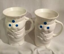 "Vintage 1979 Pillsbury Dough-Boy Plastic Cups Mugs 4.5"" Tall Set of 2 collectile"