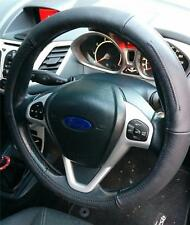 Cubierta del Volante Genuino Cuero Negro Agarre Suave Conducción ayuda para VW