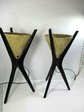 "2 Vintage MCM Pearsall Modeline Danish Ebony Wood 21"" Table Lamps Signed"