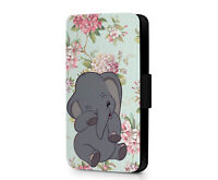 Baby Dumbo Disney Elephant Floral Art Pattern Cute Phone Flip Case Cover Wallet