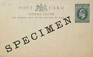 O) SIERRA LEONE, SPECIMEN, KING EDWARD VII, POSTAL STATIONERY UNUSED