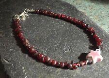 Garnet Gemstone Chip Beads Porcelain Starfish Bead Anklet Gypsy Beach Anklet