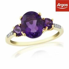 Engagement Yellow Gold Amethyst Fine Rings