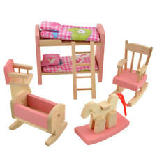 Wooden Doll Bathroom Furniture Dollhouse Miniature for Kids Toy (Beds) Gifts Set