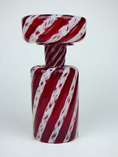 Murano red & latticino a canne glass bottle with oversize stopper Italy 60s 70s