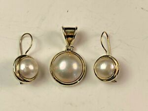 Sterling Silver & Mabe Pearl Pendant & Matching Earring Set
