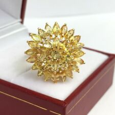 14k Solid Yellow Gold Cluster Round Ring, Natural Yellow Sapphire, Sz9.25, 4.8GM