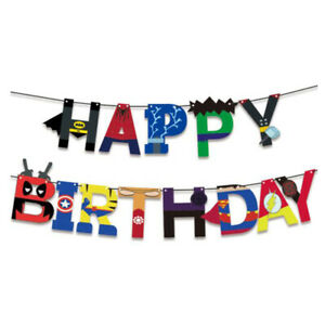 The Avengers Superhero Bat Happy Birthday Buntings Banner Garlands Party Decors