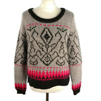M&S Indigo Size 14 Grey Pink Patterned Knitted Jumper Wool Alpaca Blend Warm