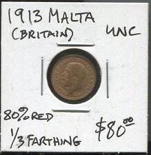 MALTA - HISTORICAL SCARCE GB GEORGE V BRONZE 1/3 FARTHING, 1913 KM# 823