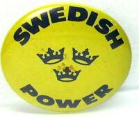 1960s Vintage Pinback Pin Button SWEDISH POWER 3 Tri Crowns