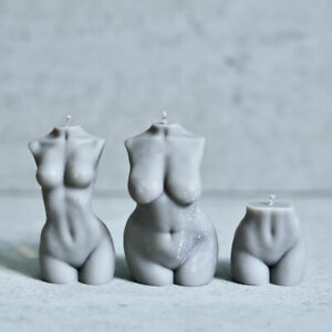 Naked Woman Torso Candle Female Bust CANDLE - Stone Grey (NOT MOULD)