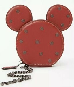 Coach Disney X Minnie Mouse Leather Glitter Coin Pouch.RRP£95.CLEARANCE PRICE!