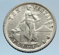1944 S PHILIPPINES - TEN Centavos United States of America Silver Coin i74286