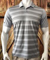 Adidas Golf Men's XL Polo Shirt Gray Short Sleeve Polyester Striped Casual