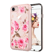 Pink Flowers ShockProof Dual Layer Hybrid Hard Cover Case For iPhone 8