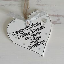 Personalised Silver 25th Wedding Anniversary Wooden Heart Gift Keepsake 10 x 10