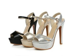 Womens Shoes Synthetic Leather High Heels Ankle Strap Pumps Sandals AU Size s673