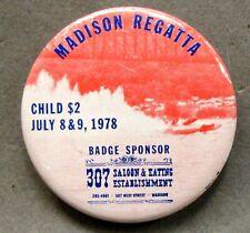 1978 MADISON REGATTA CHILD pinback button Hydroplane boat racing c3