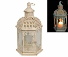 RUSTIC LOOKING METAL HEXAGON 45CM LANTERN WITH GOLD BRUSH FINISH