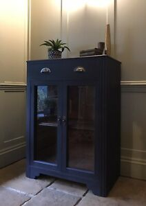 Vintage Black Painted Display China Glazed Drinks Cabinet Cupboard