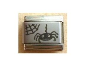 9mm Italian Charms L104 Halloween Laser Spider & Web Fits Classic Size Bracelet
