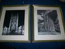 2 TAU Black and White Matte Framed Prints Cathedral Church & Tall Stone Pillars