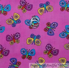 BonEful Fabric FQ Cotton Quilt Pink Purple Yellow Dot Butterfly Flower Girl Doll