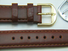 Tan genuine Saddle Leather Men's 20 R watchband watch strap band 2 buckles