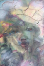 ADELE HEYMAN SIGNED Original Painting Water Color Mixed Media Face Portrait RARE