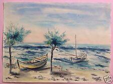 8v8: Impressionismus Aquarell Gemälde Fischerboote Strand Marotta Italy Weihmann