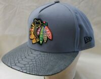 NHL Chicago Blackhawks Gray Hat Baseball Cap Hockey RN# 11493 New Era Size M/ L