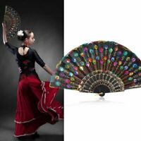 Folding Fan Peacock Feather Pattern Hand Hold Fans Dancing Party Wedding Vintage