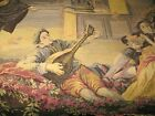 Vintage Antique Tapestry Music wine Grapes Guitar Made in Belgium