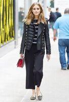 New Olivia Palermo Napoleon Military Style Black Women Leather Jacket - BNWT